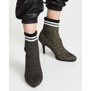 NIB Stuart Weitzman Waverly Gold Sock Booties